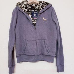 VS PINK faux fur cheetah lined zip bling hoodie M